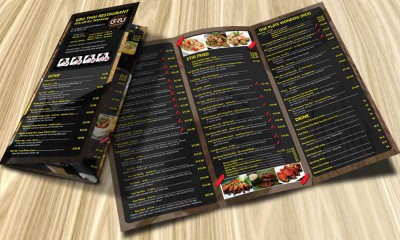 แผ่นพับ Menu GRU Thai Restaurant Street Food Leaflet