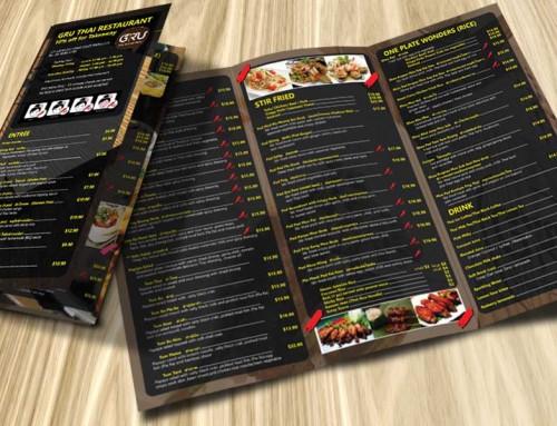 แผ่นพับเมนูอาหาร GRU Thai Restaurant Street Foods in Australia