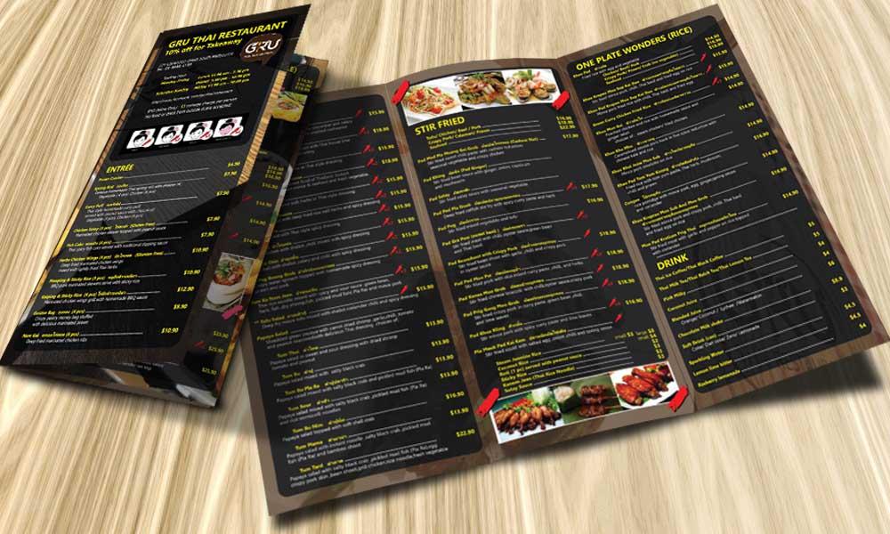 แผ่นพับ Menu GRU Thai Restaurant Street Food Leaflet